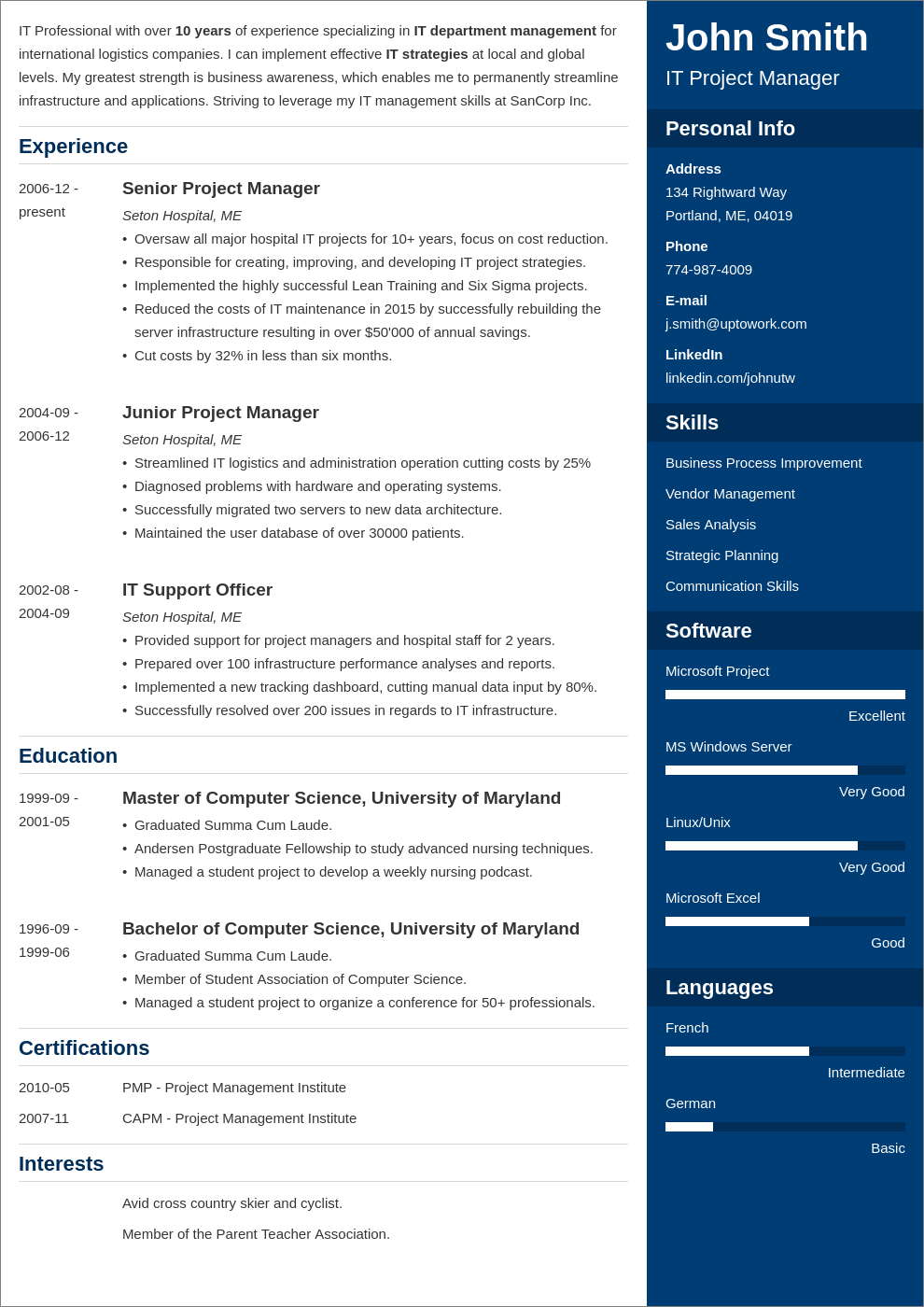 modern resume layout