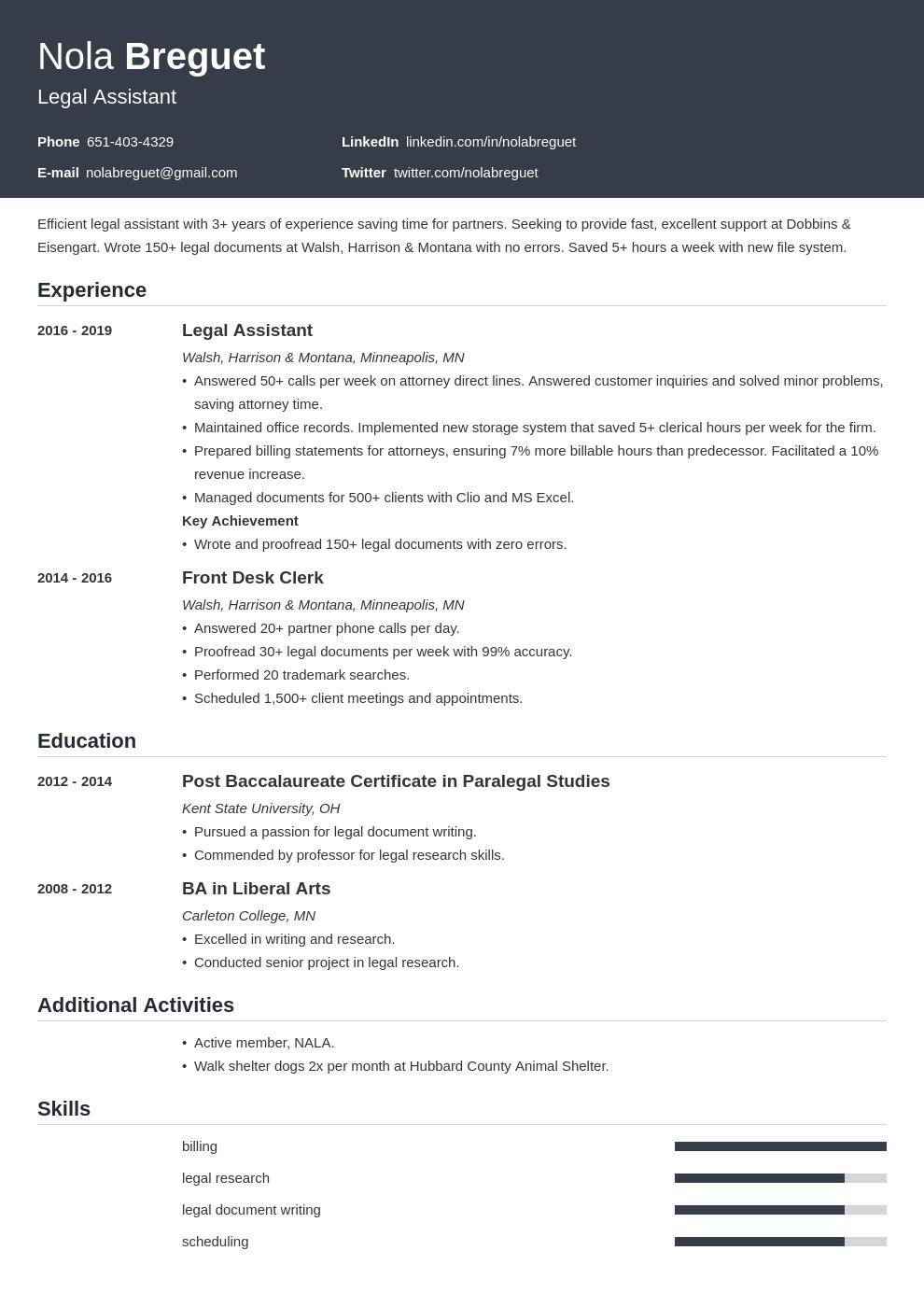 legal assistant template influx uk