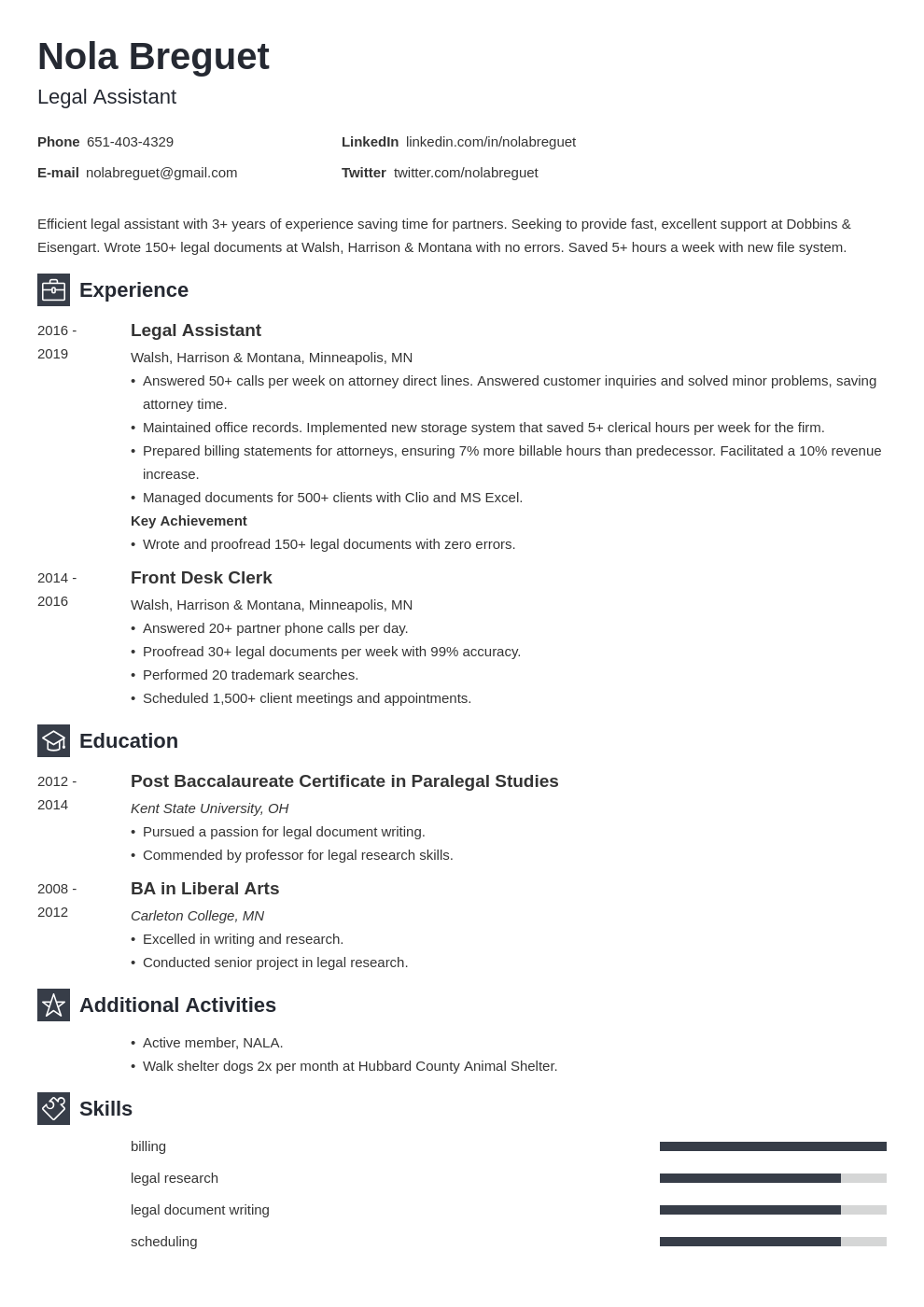 legal assistant template newcast uk