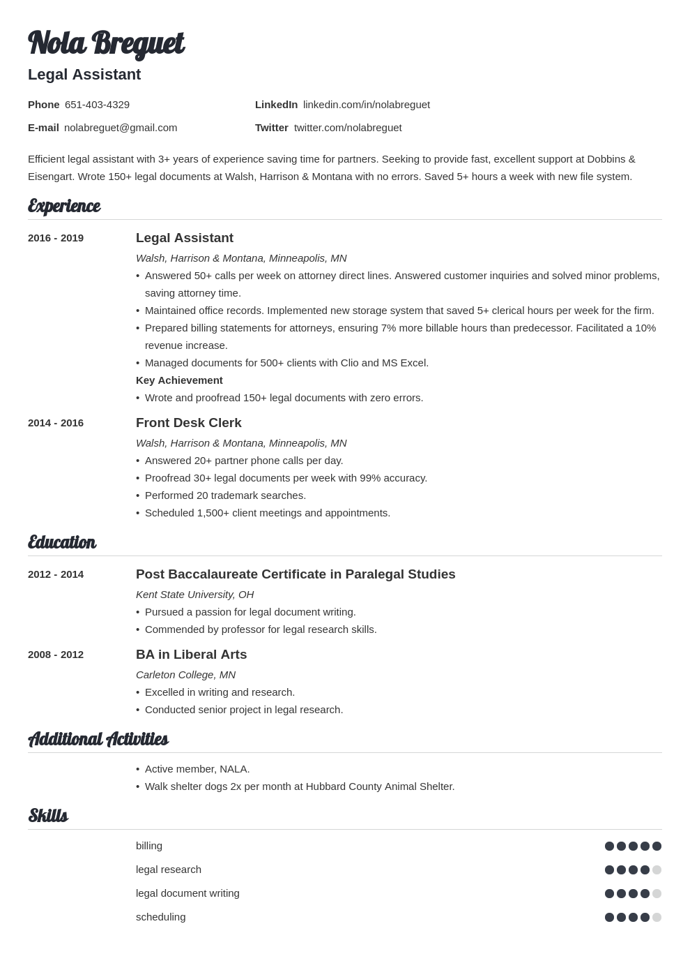 legal assistant template valera uk