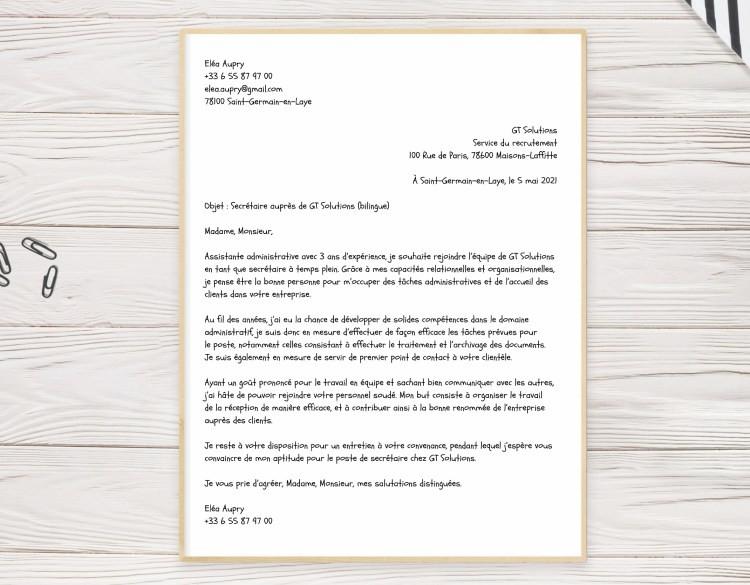 Lettre de motivation manuscrite