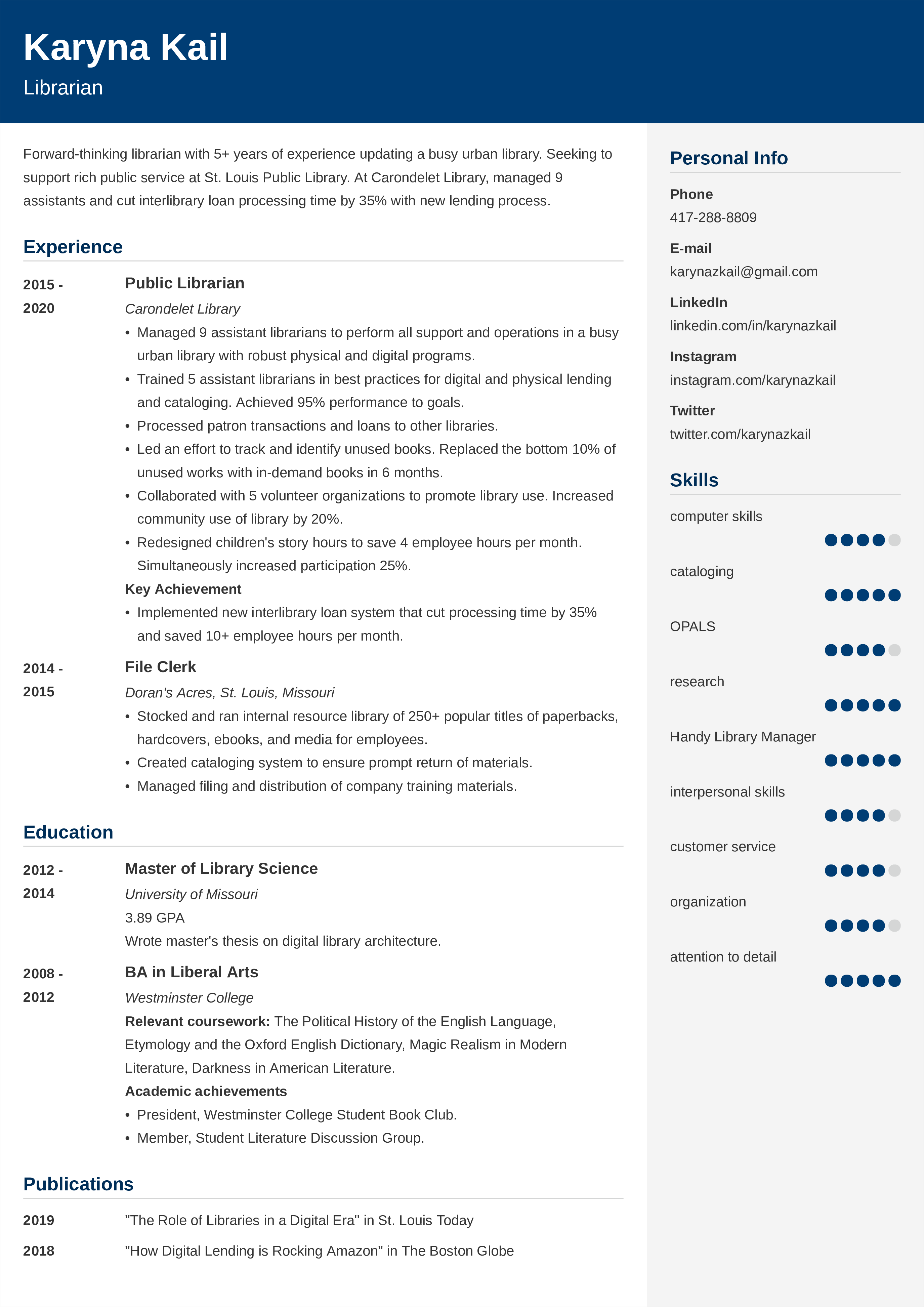 librarian  resume templates