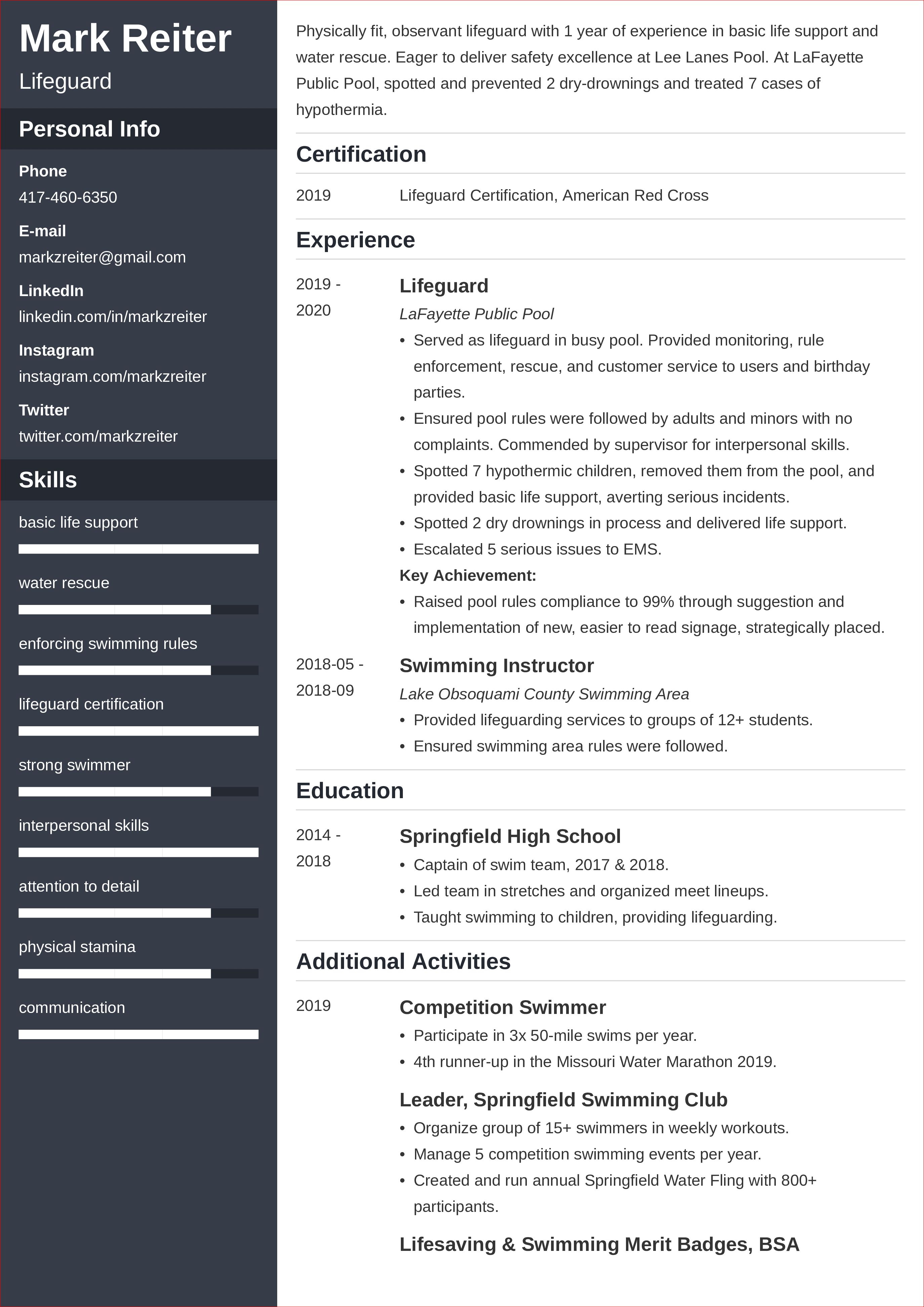 Sample resume for a lifeguard cover letter advertising internship