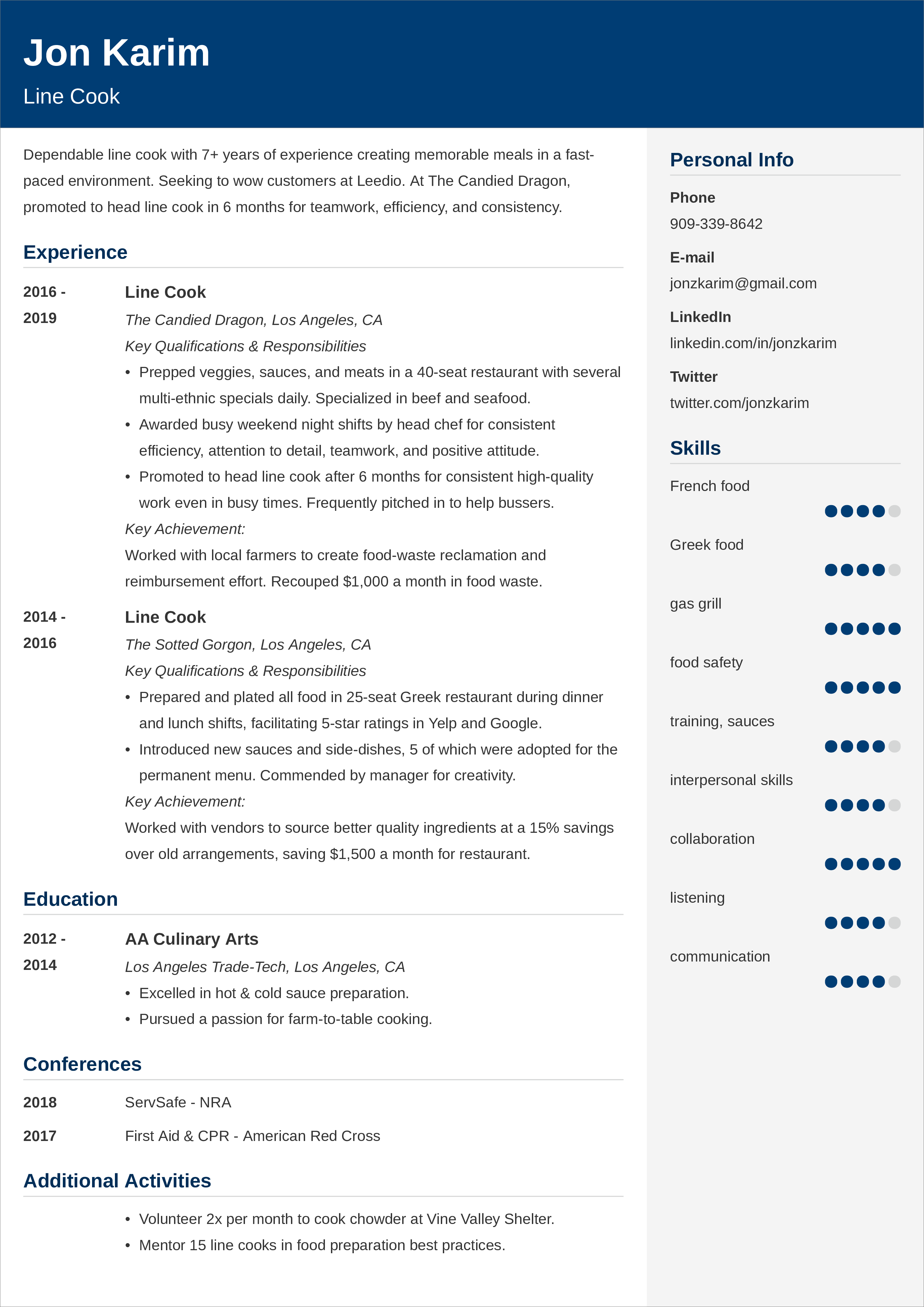 line cook CV templates