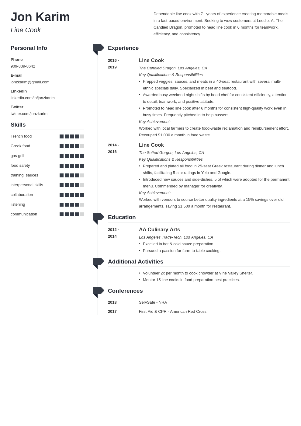 line cook template muse uk