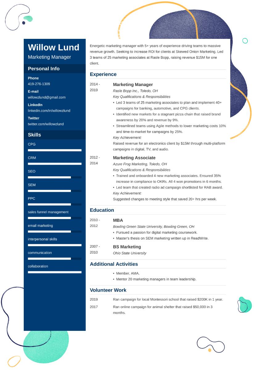 marketing manager CV example