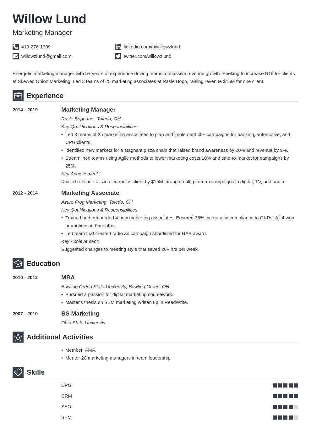 marketing manager template iconic uk