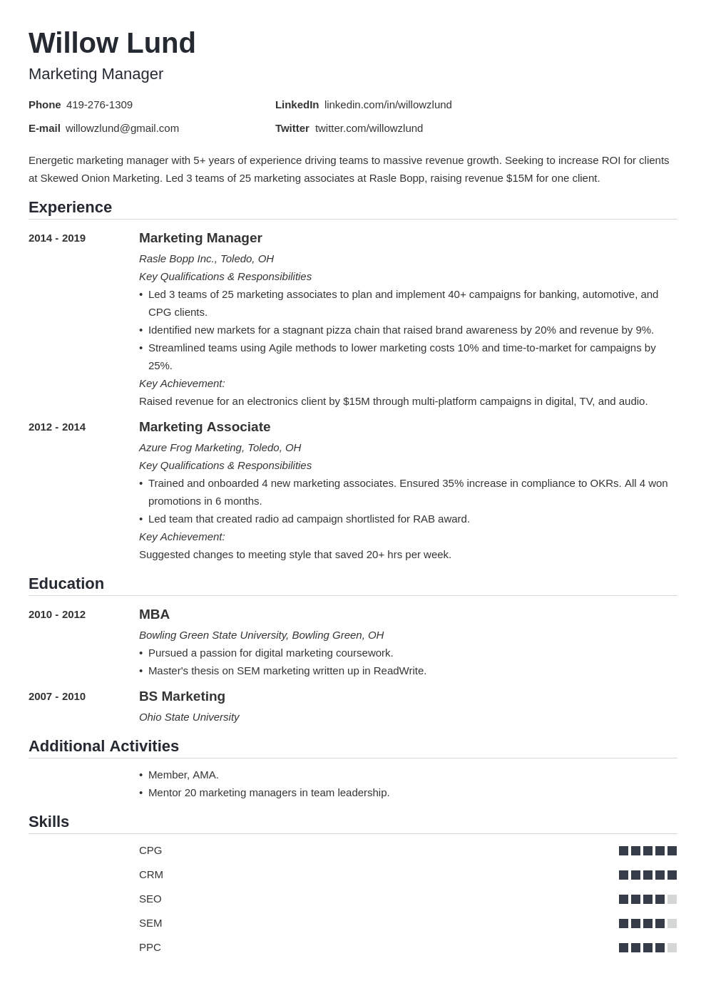 marketing manager template nanica uk