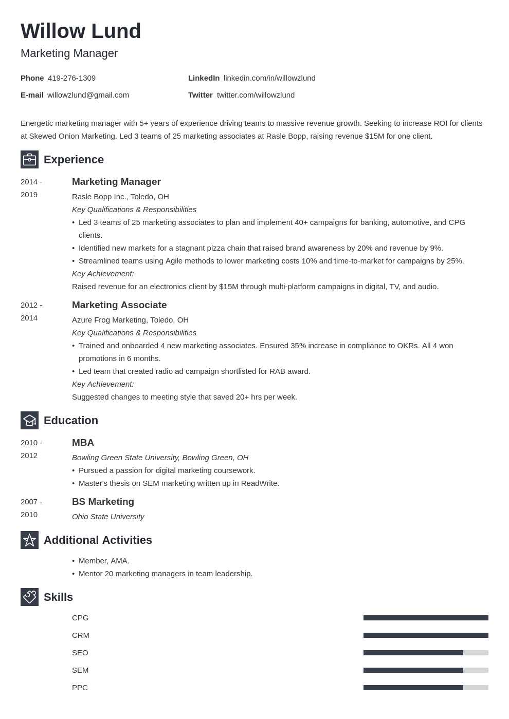 marketing manager template newcast