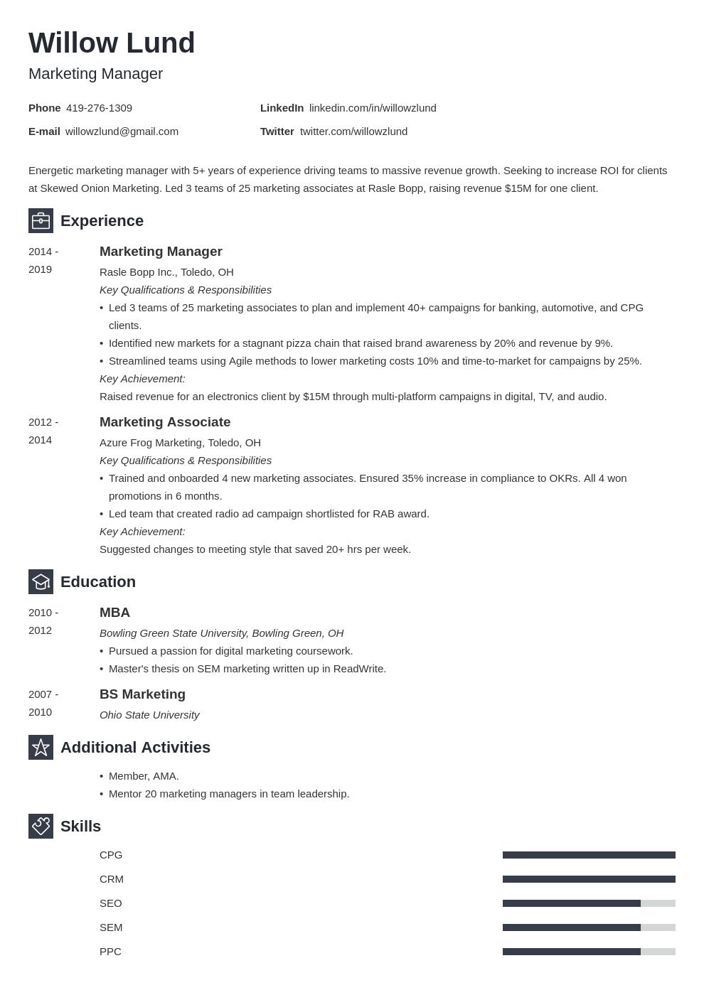 marketing manager template newcast uk