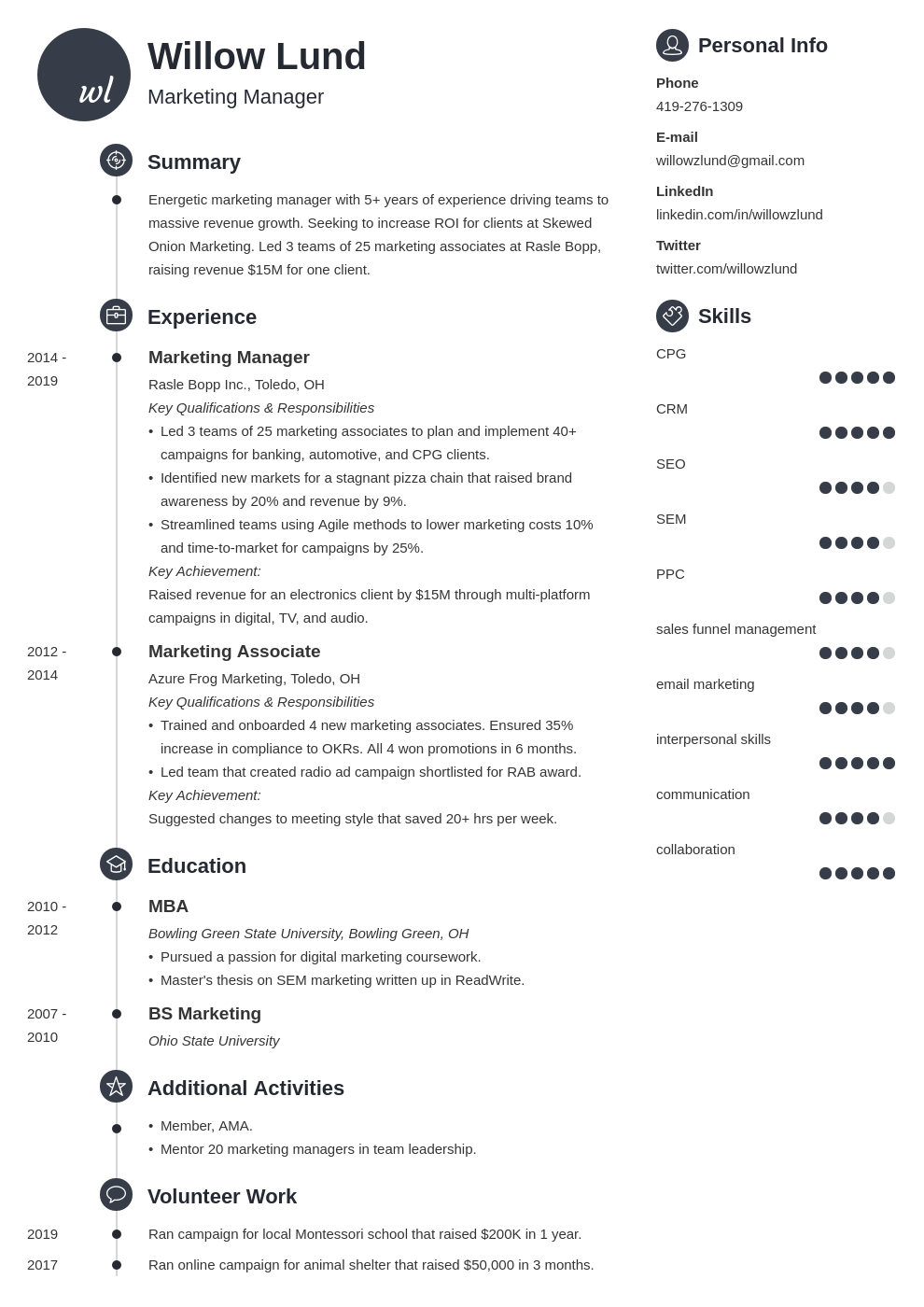 marketing manager template primo uk