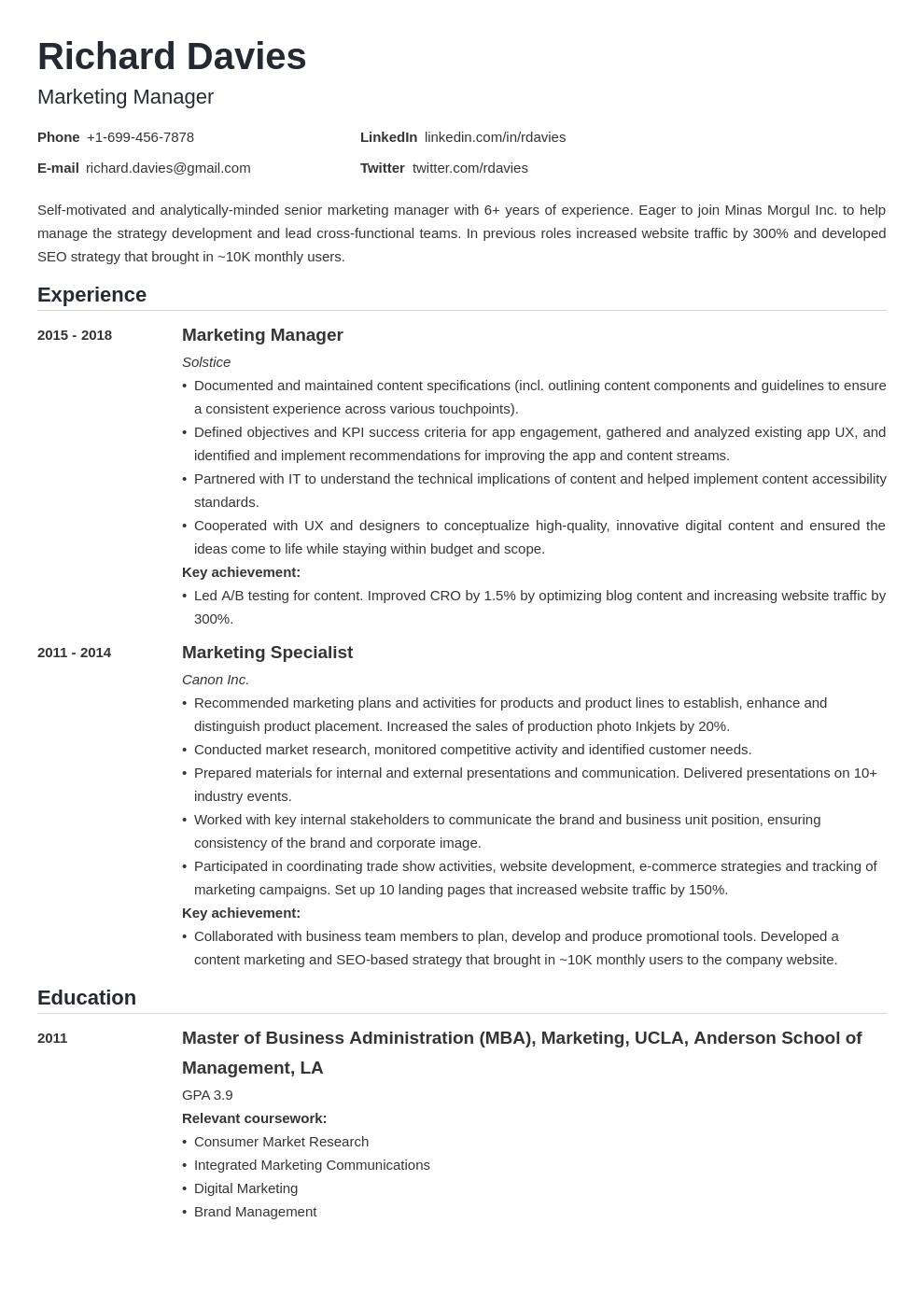 marketing template nanica uk