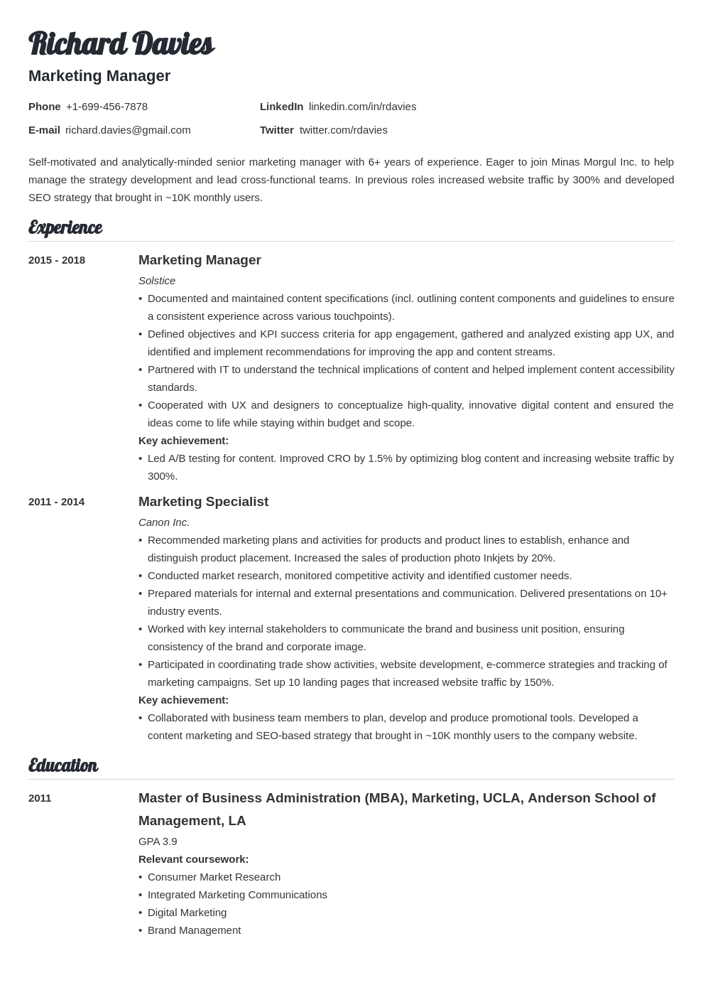 marketing template valera uk