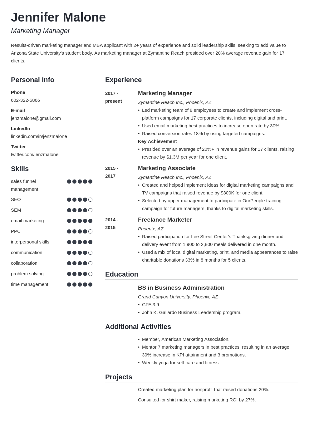 mba template simple uk
