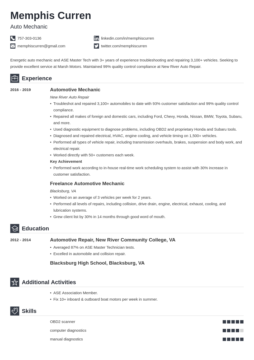 Mechanic Resume Examples And Tips Skills Objective