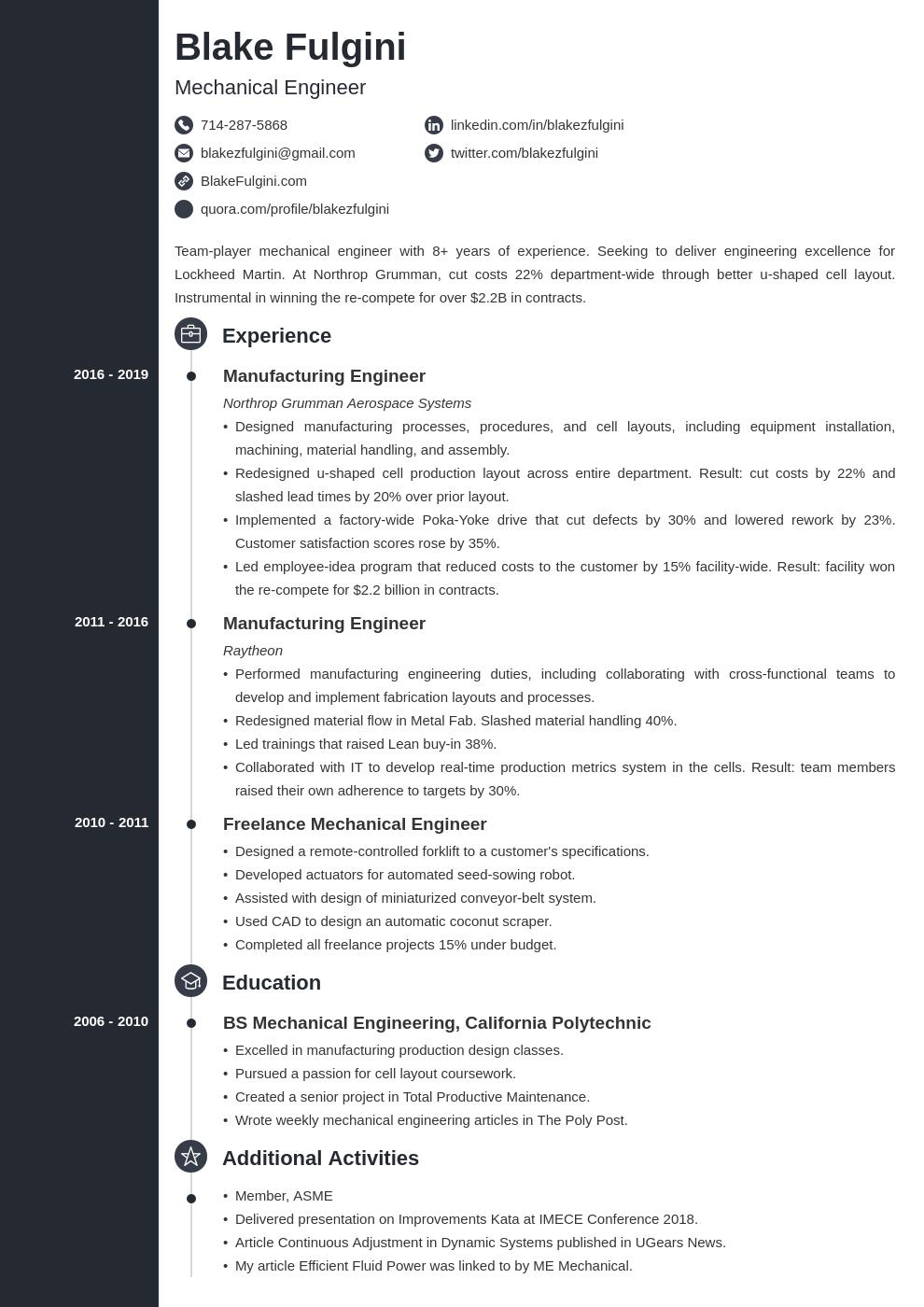 mechanical engineer template concept uk