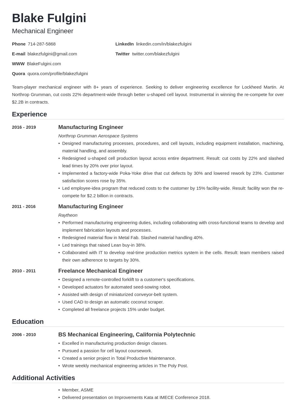 mechanical engineer template nanica uk