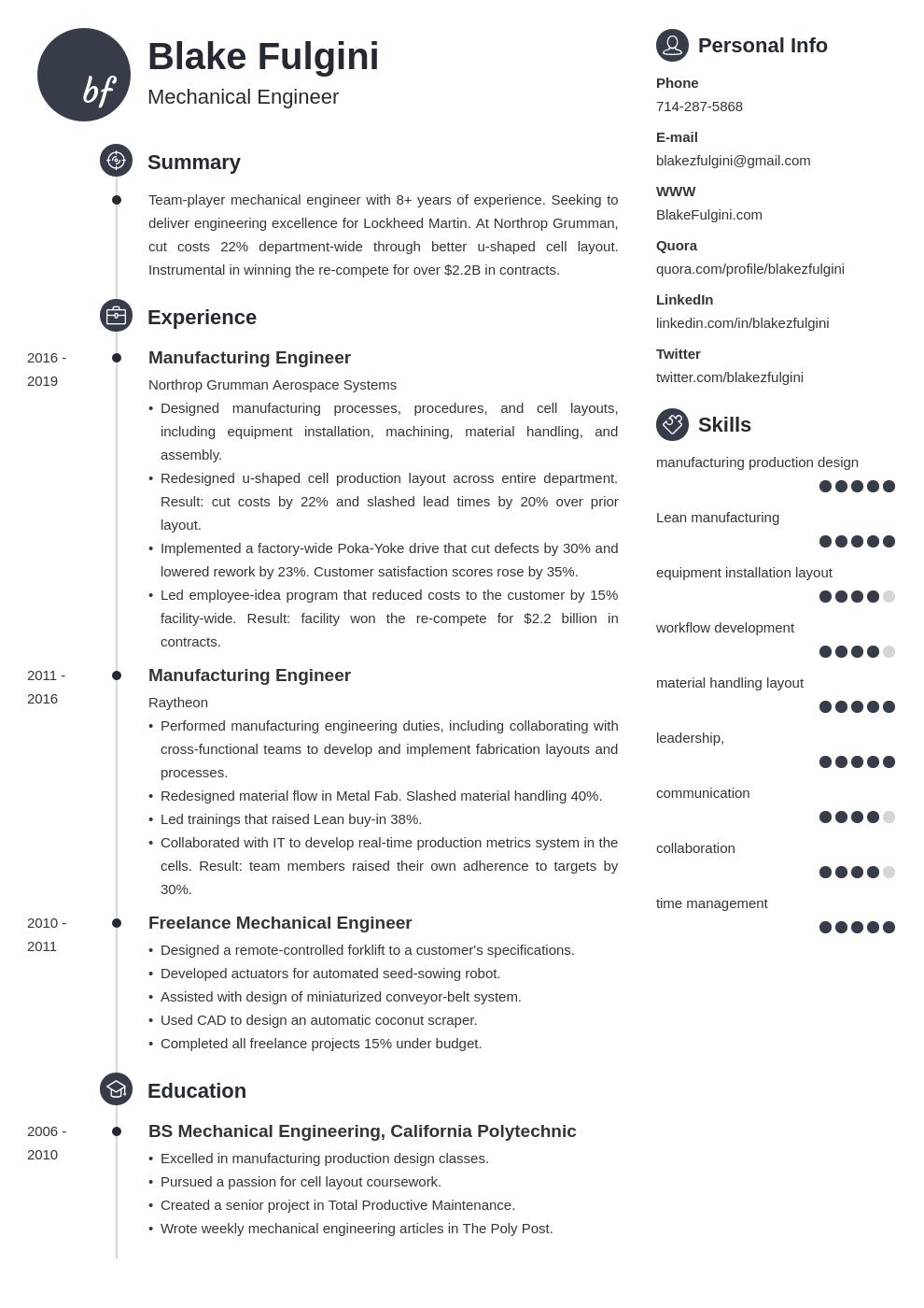 mechanical engineer template primo uk