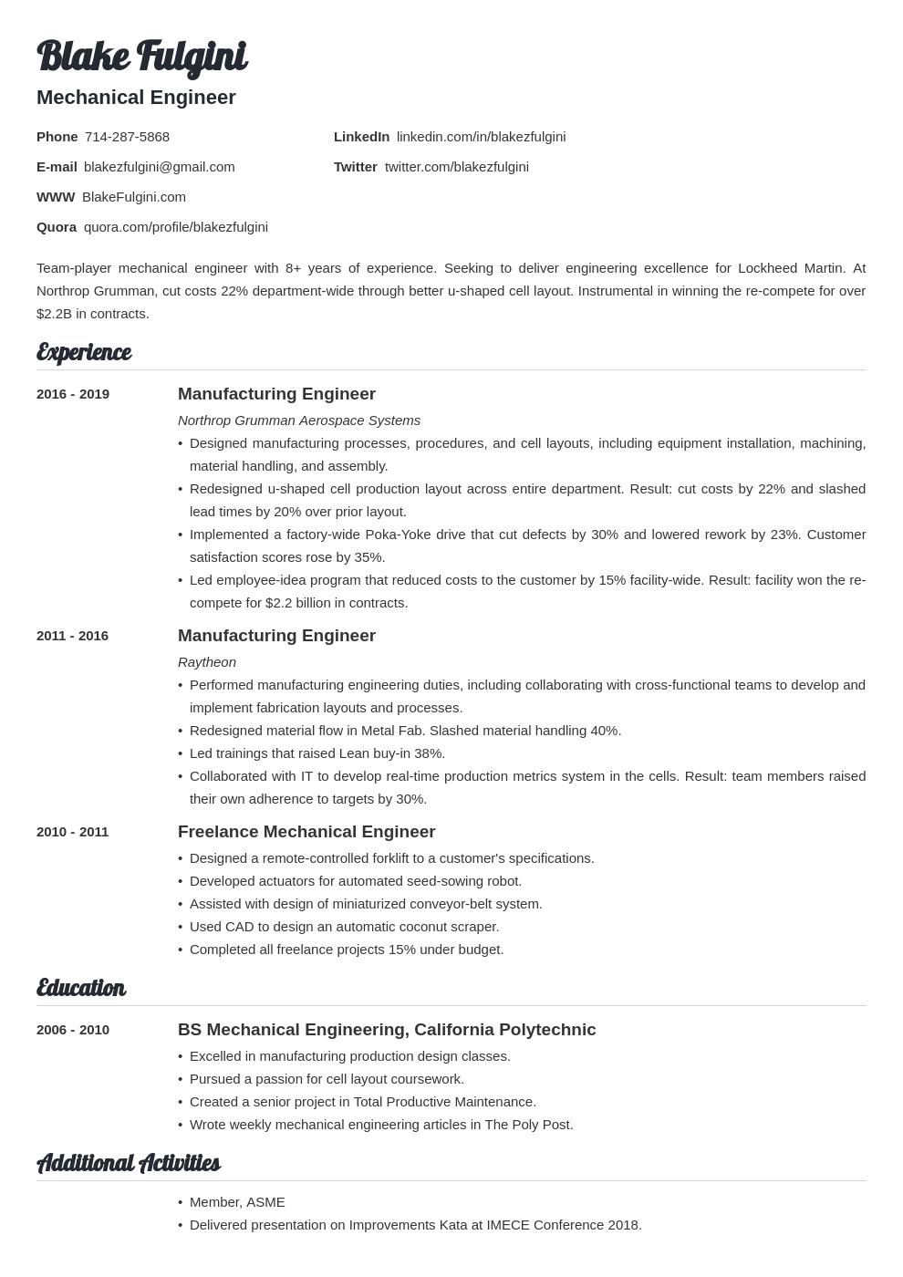 mechanical engineer template valera uk