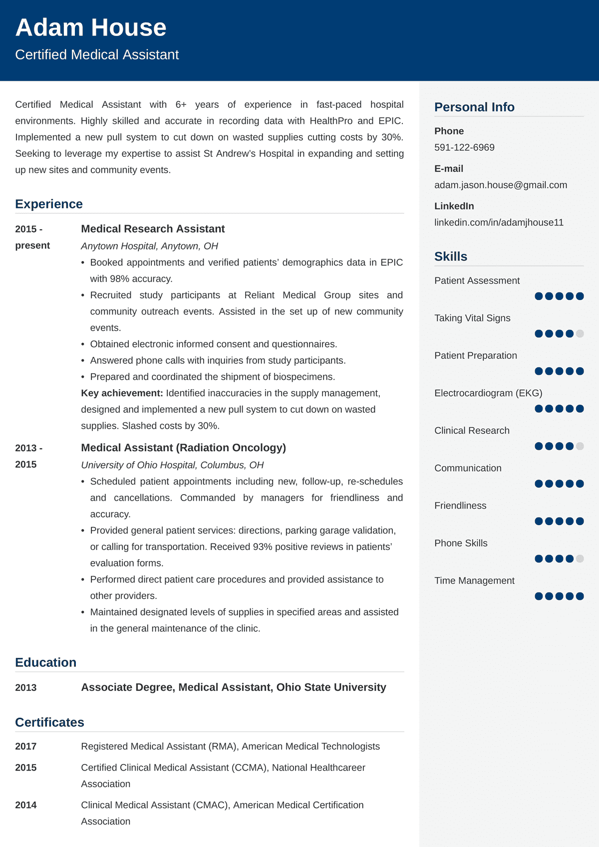 medical assistant resume sample—25 examples and writing tips