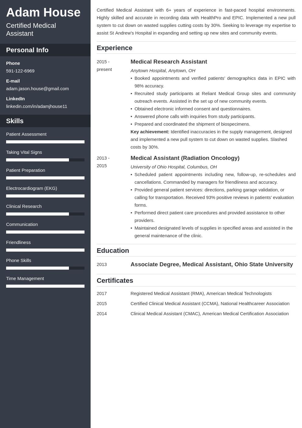 medical assistant template cascade uk