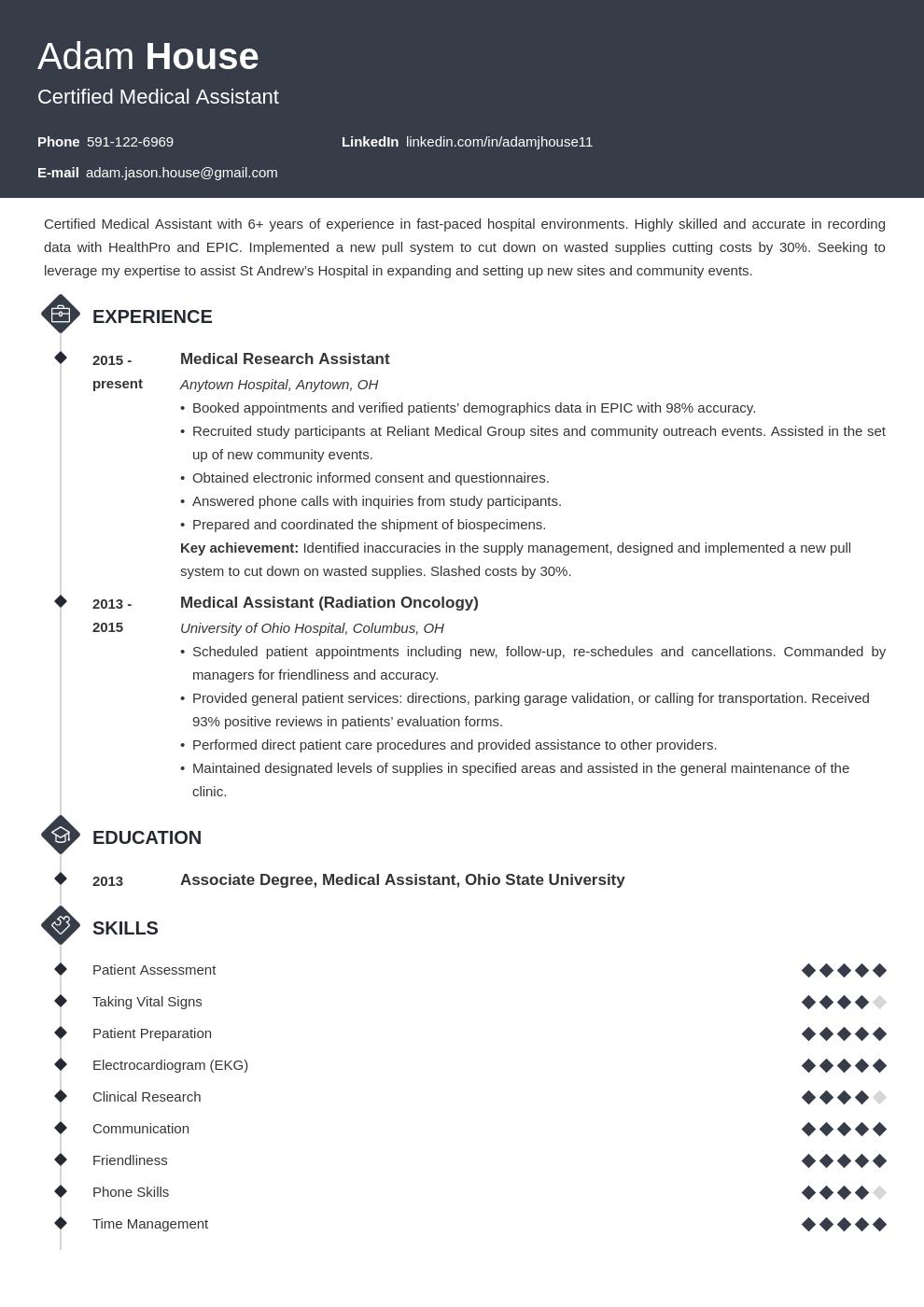 medical assistant template diamond uk