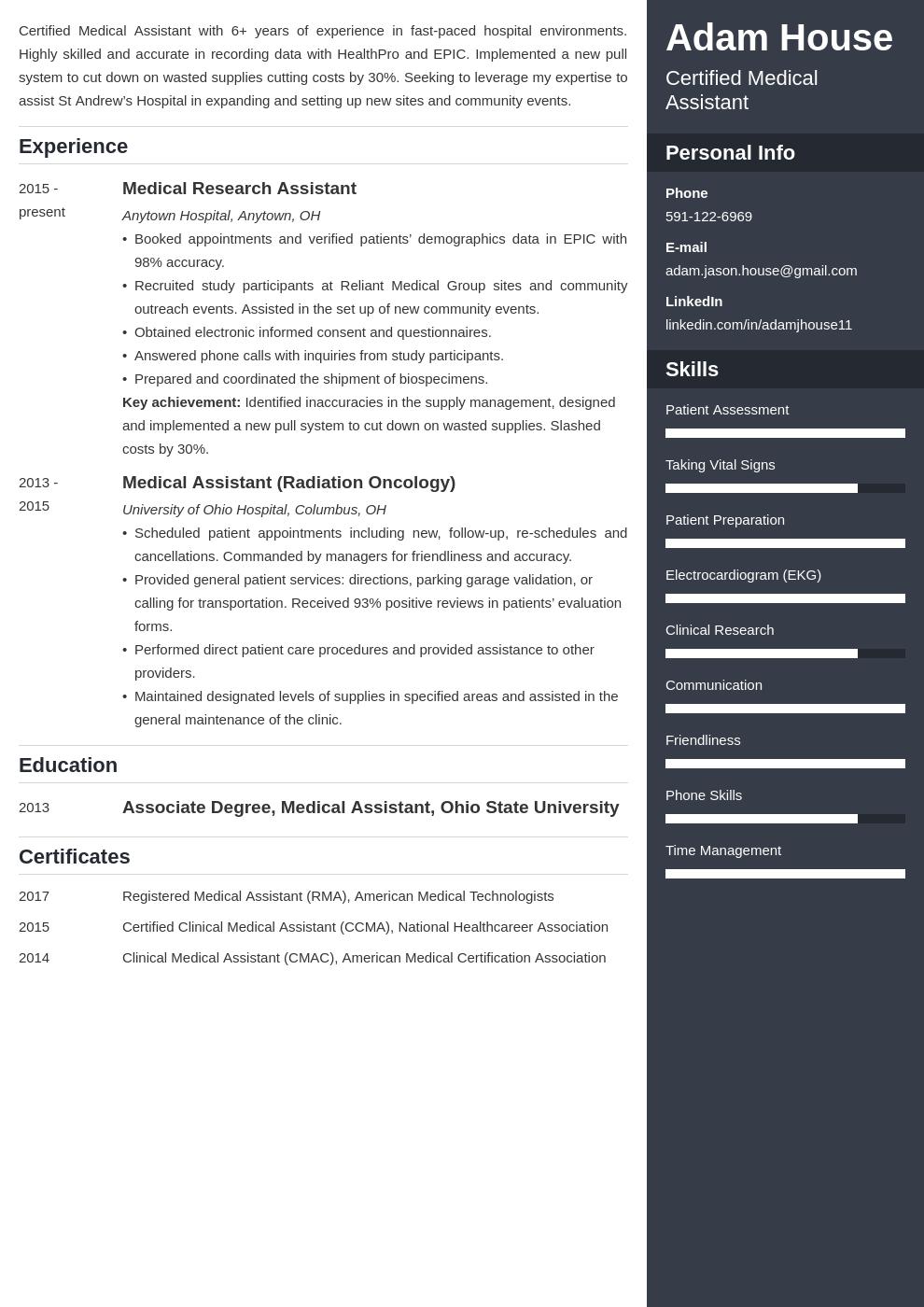 medical assistant template enfold uk