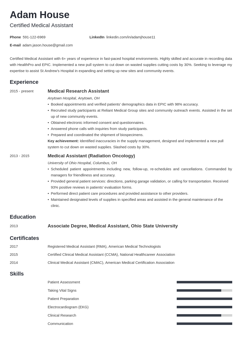 medical assistant template minimo uk