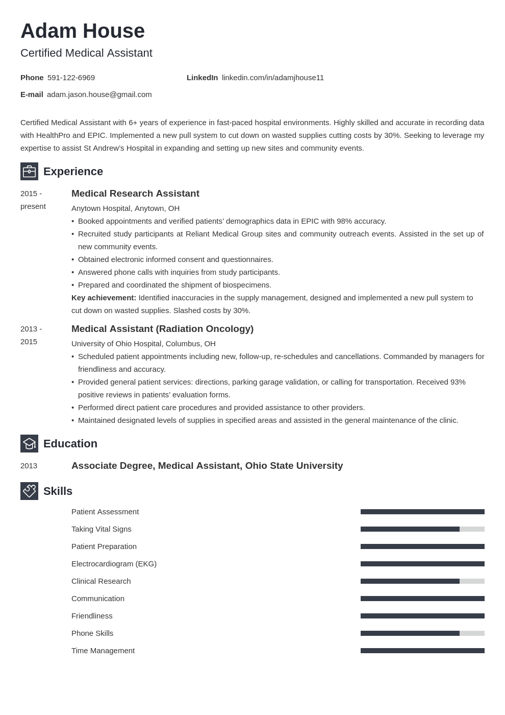 medical assistant template newcast uk