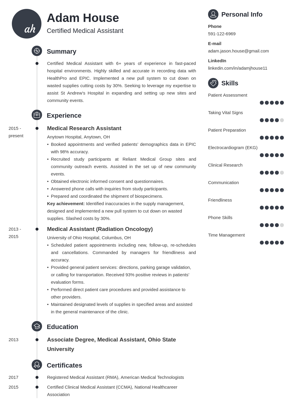 medical assistant template primo uk