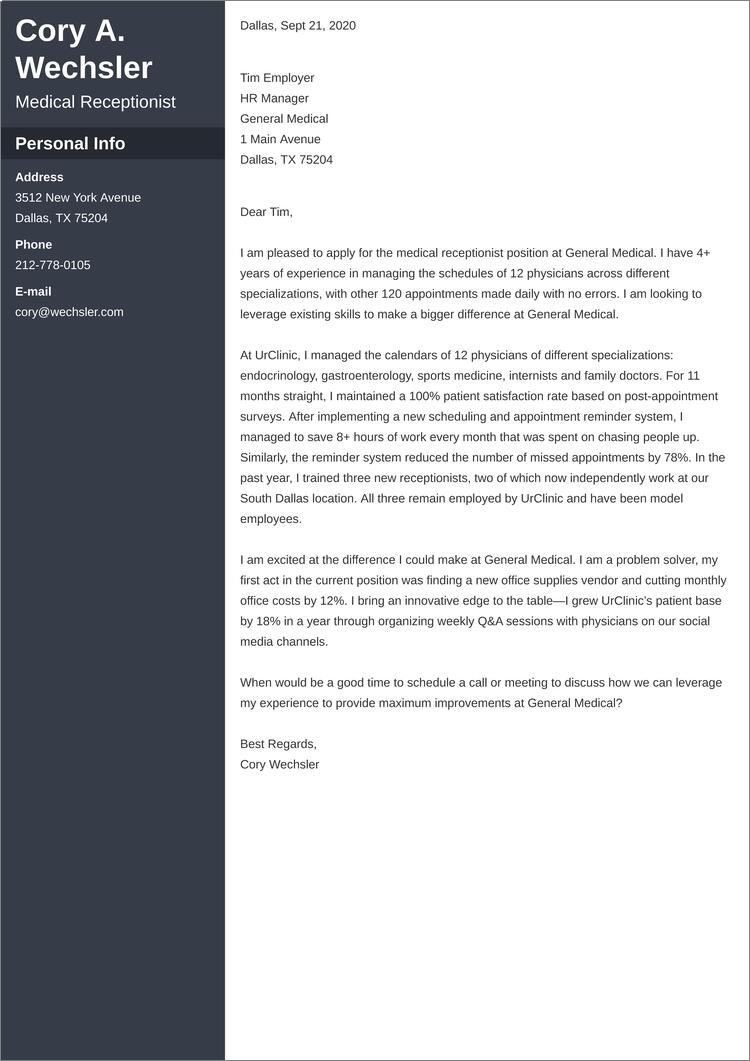 medical receptionist cover letter templates