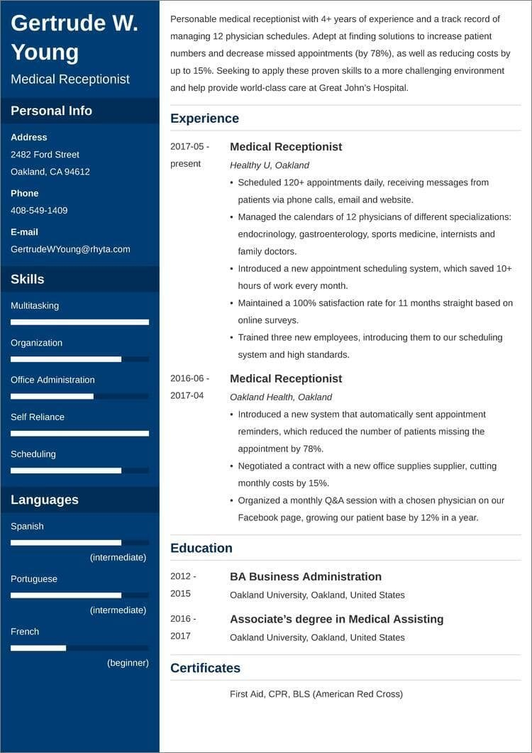 medical receptionist resume templates