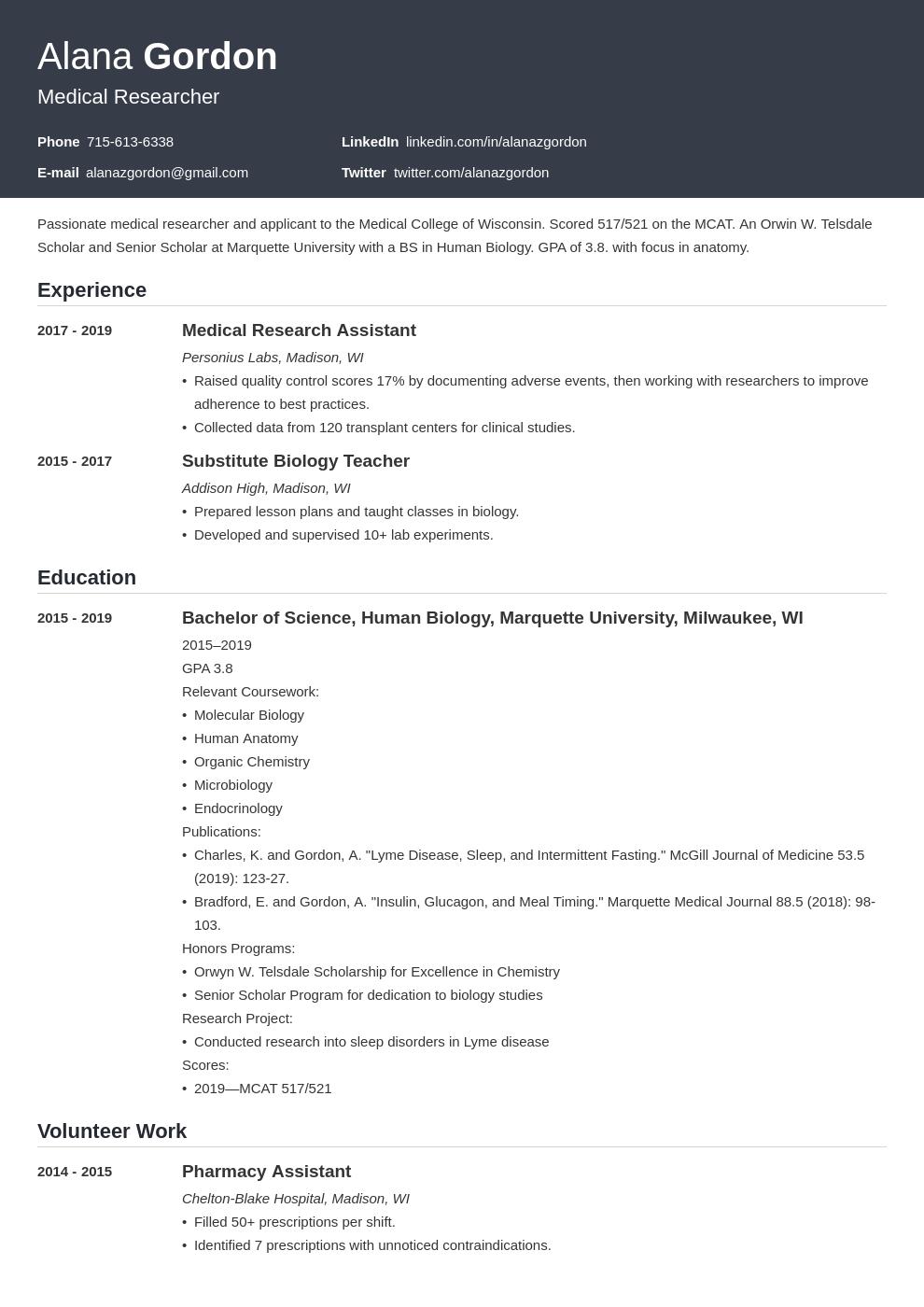medical school template influx