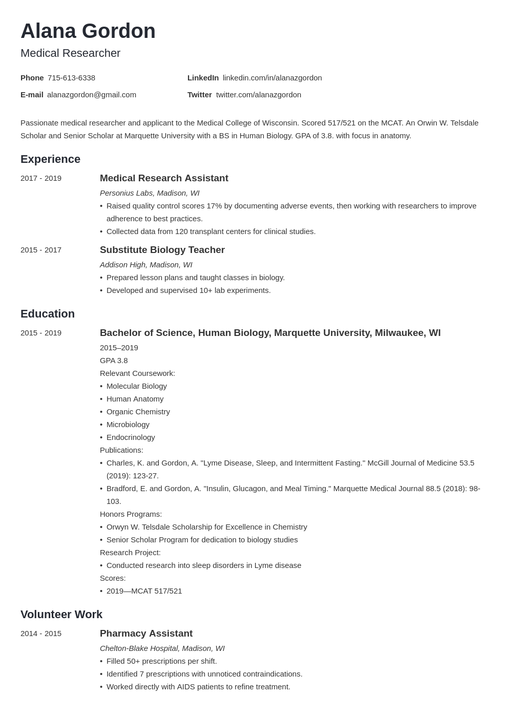 medical school template minimo