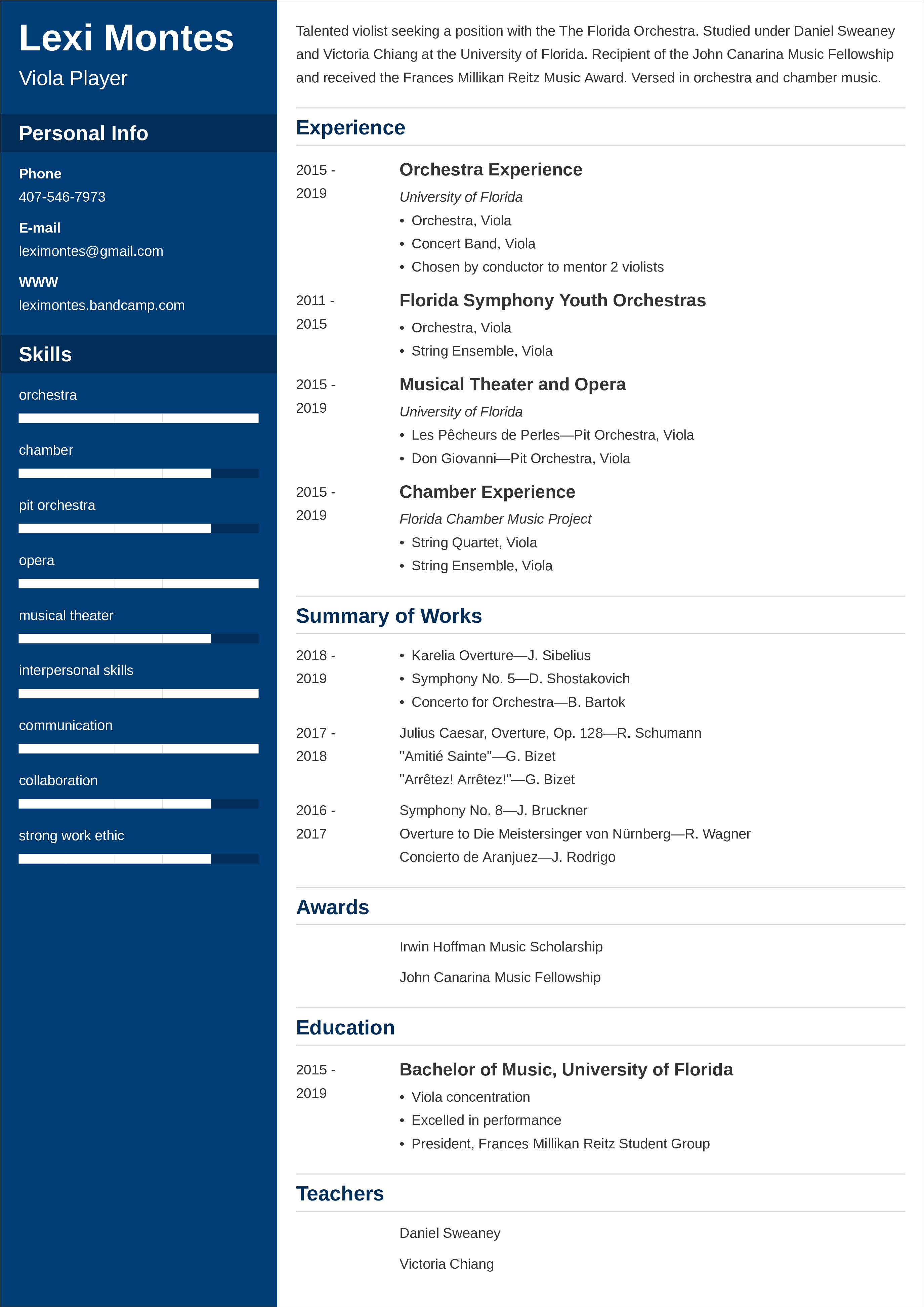music resume templates
