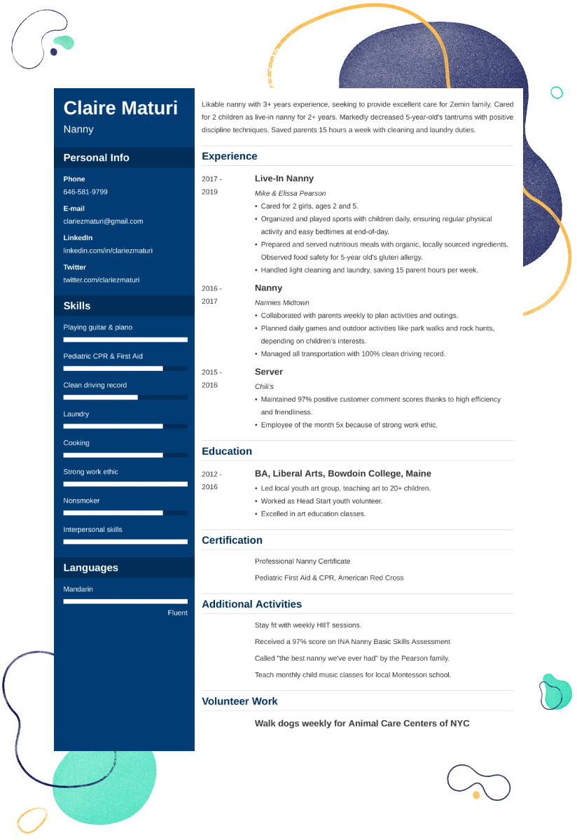 Nanny Resume Examples And 25 Writing Tips