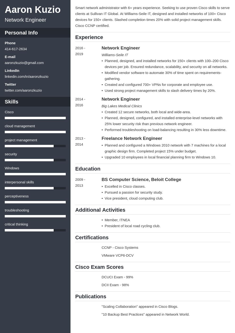 network engineer template cascade uk