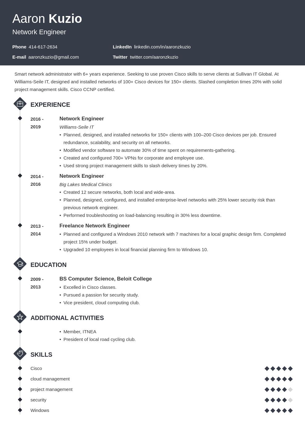network engineer template diamond uk