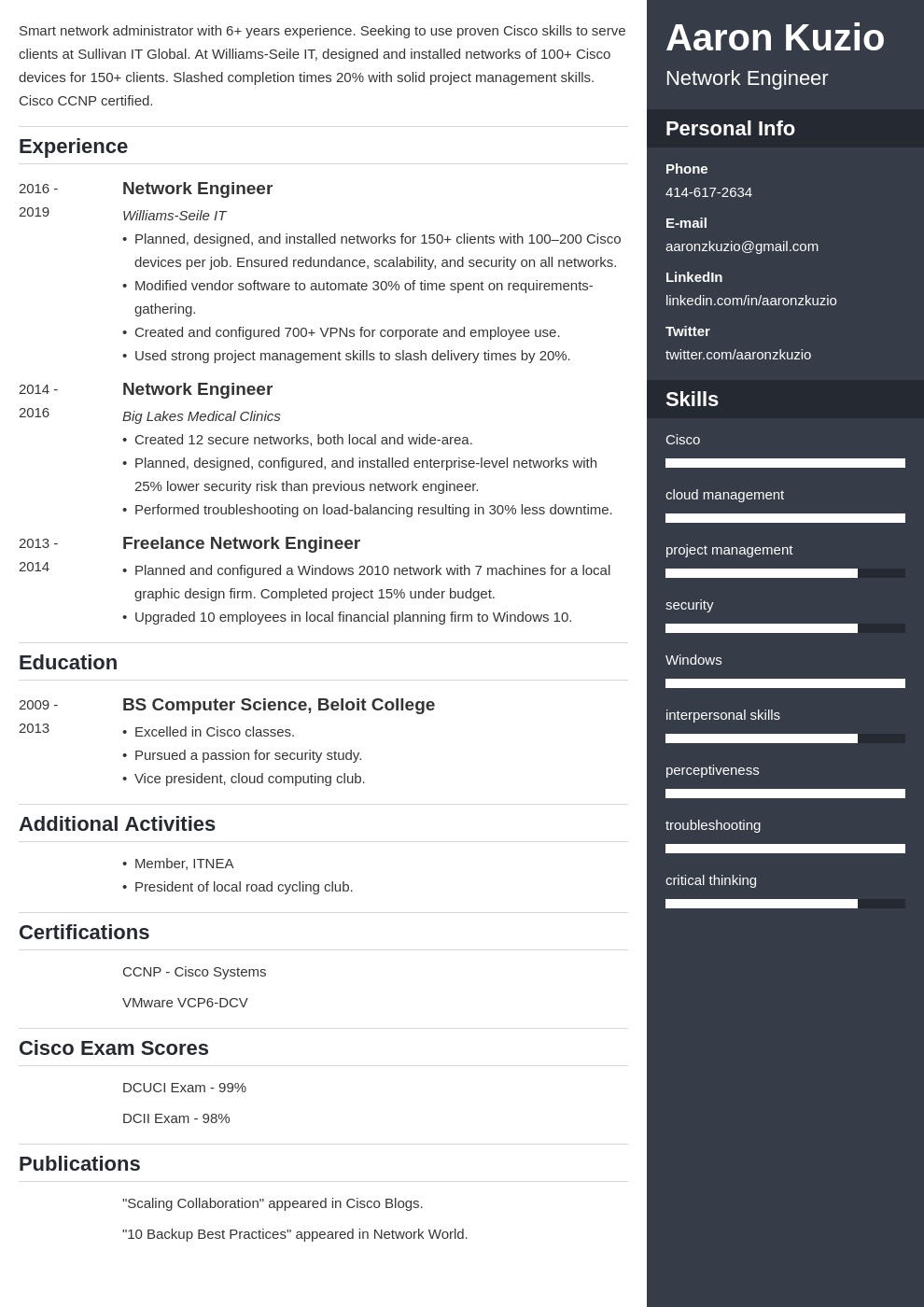 network engineer template enfold uk