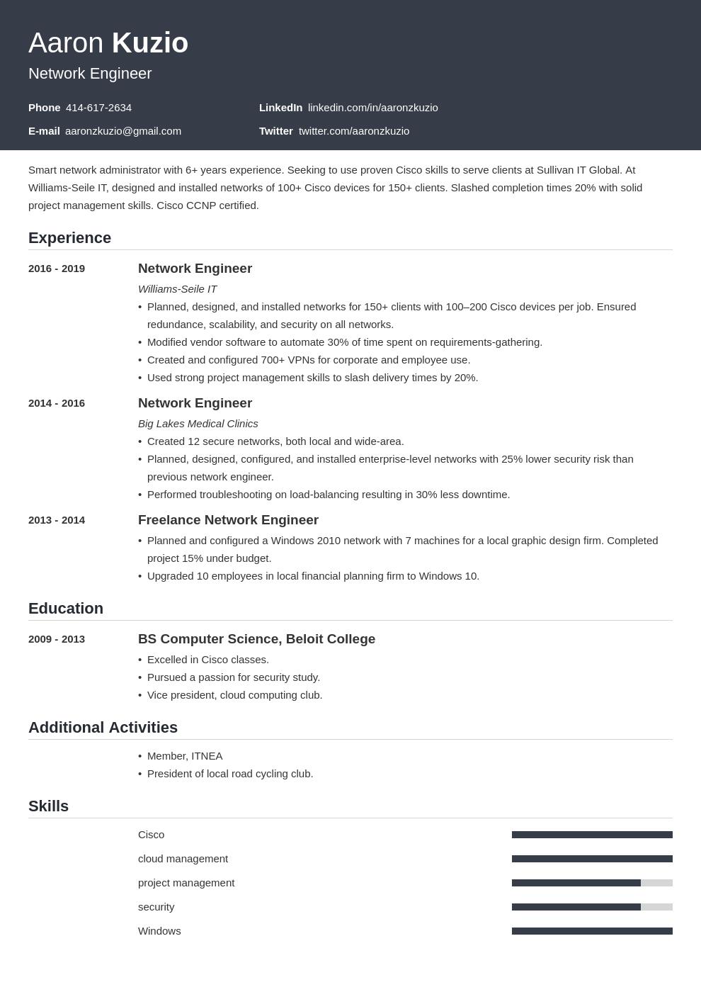 network engineer template influx uk
