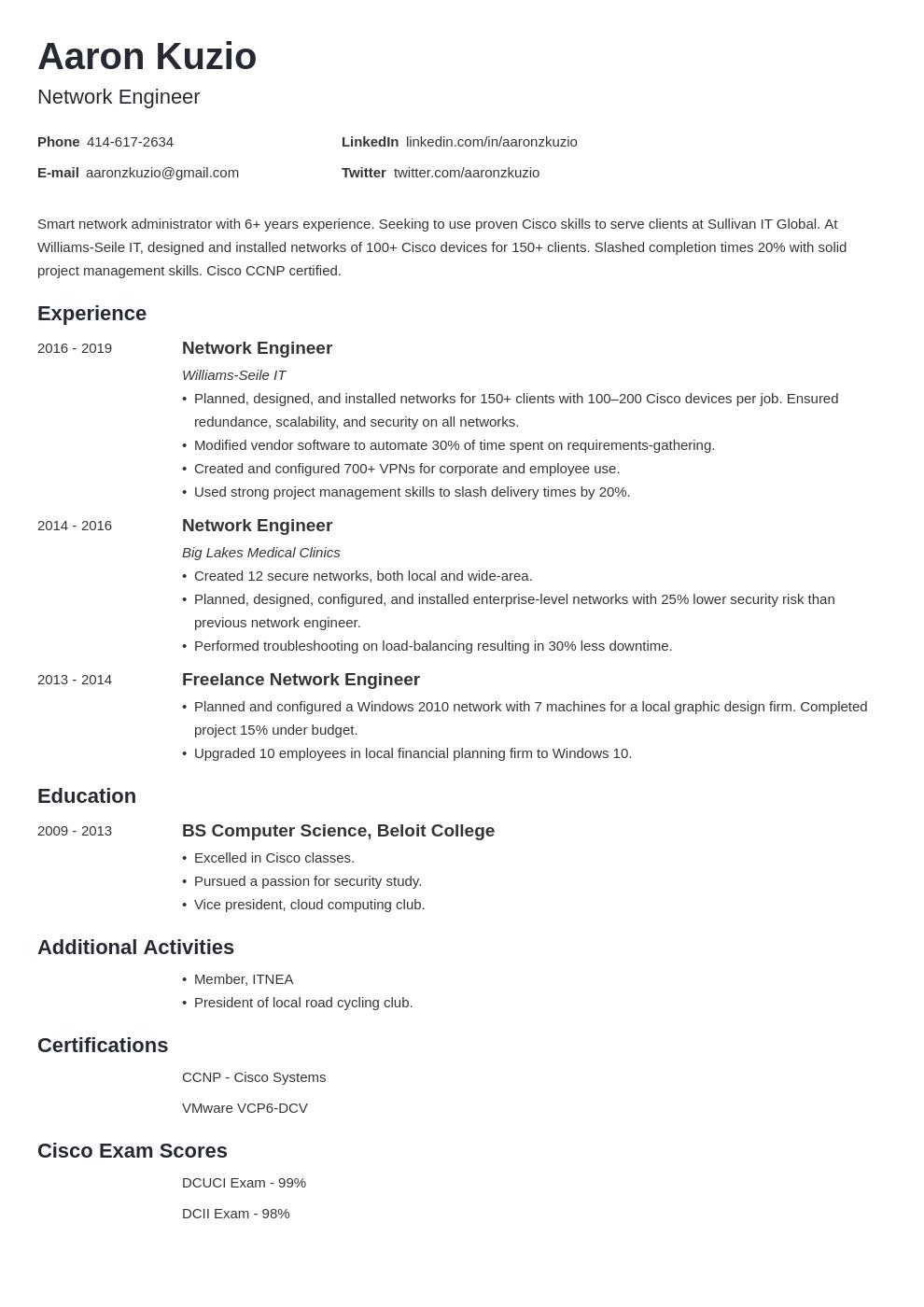 network engineer template minimo uk