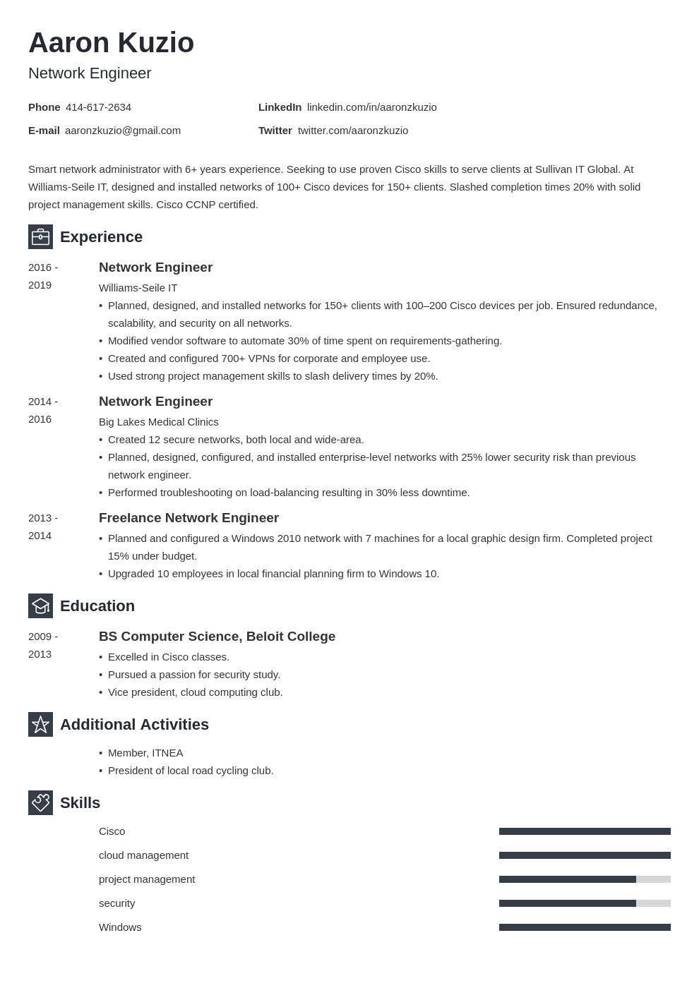 network engineer template newcast uk