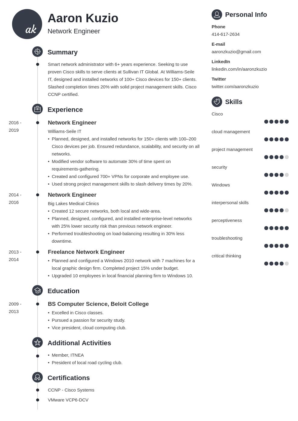 network engineer template primo uk