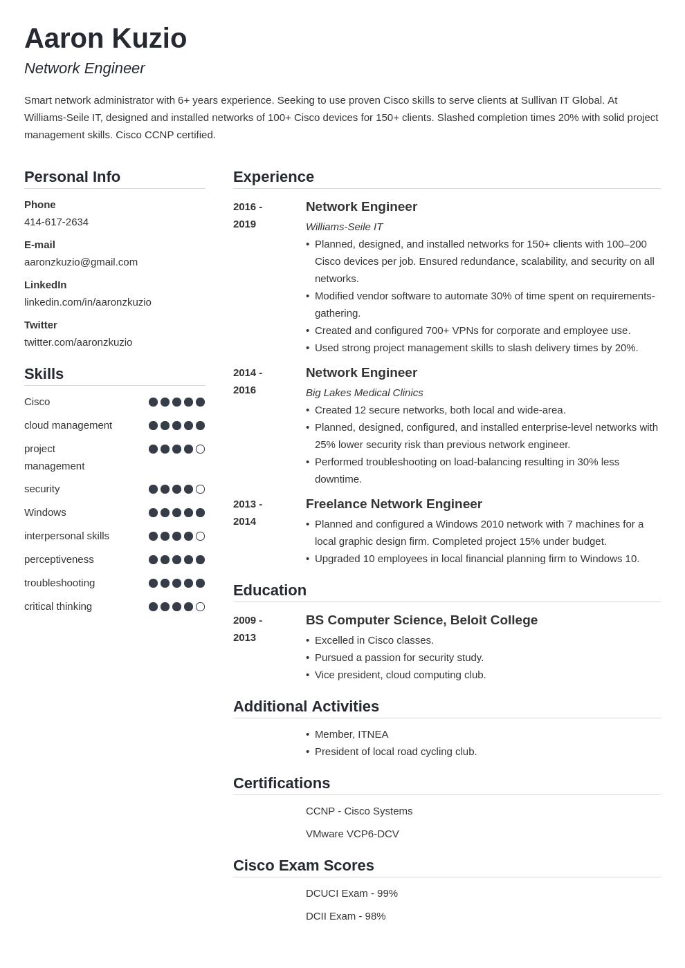 network engineer template simple uk