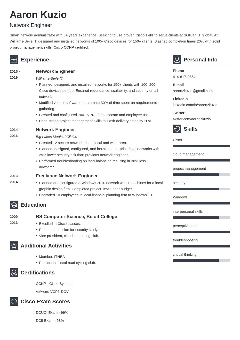 network engineer template vibes uk