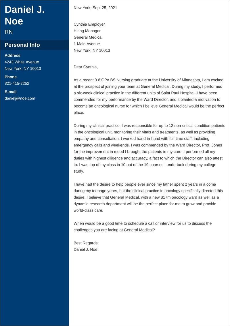 new grad rn cover letter templates
