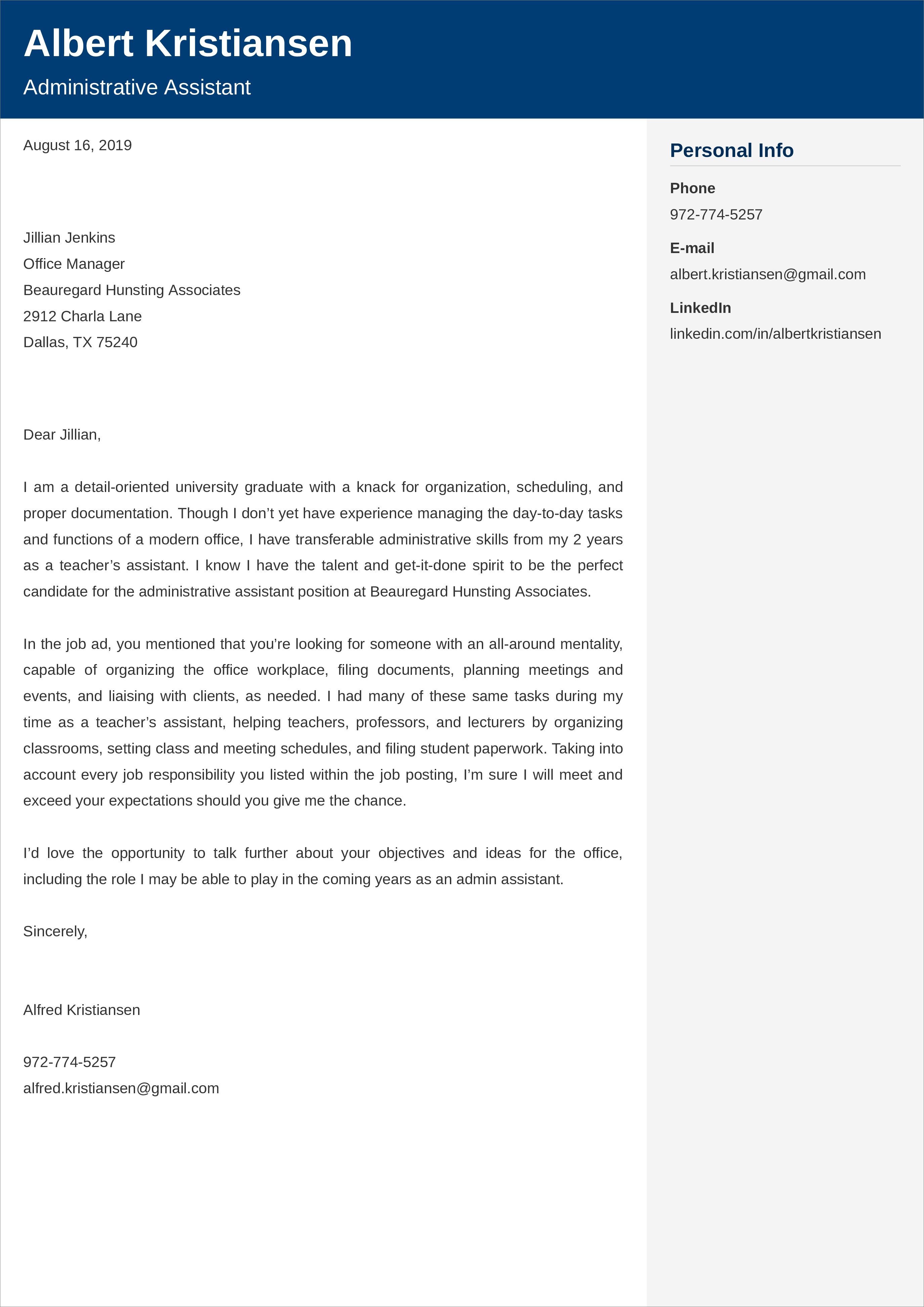 no experience administrative assistant CV example