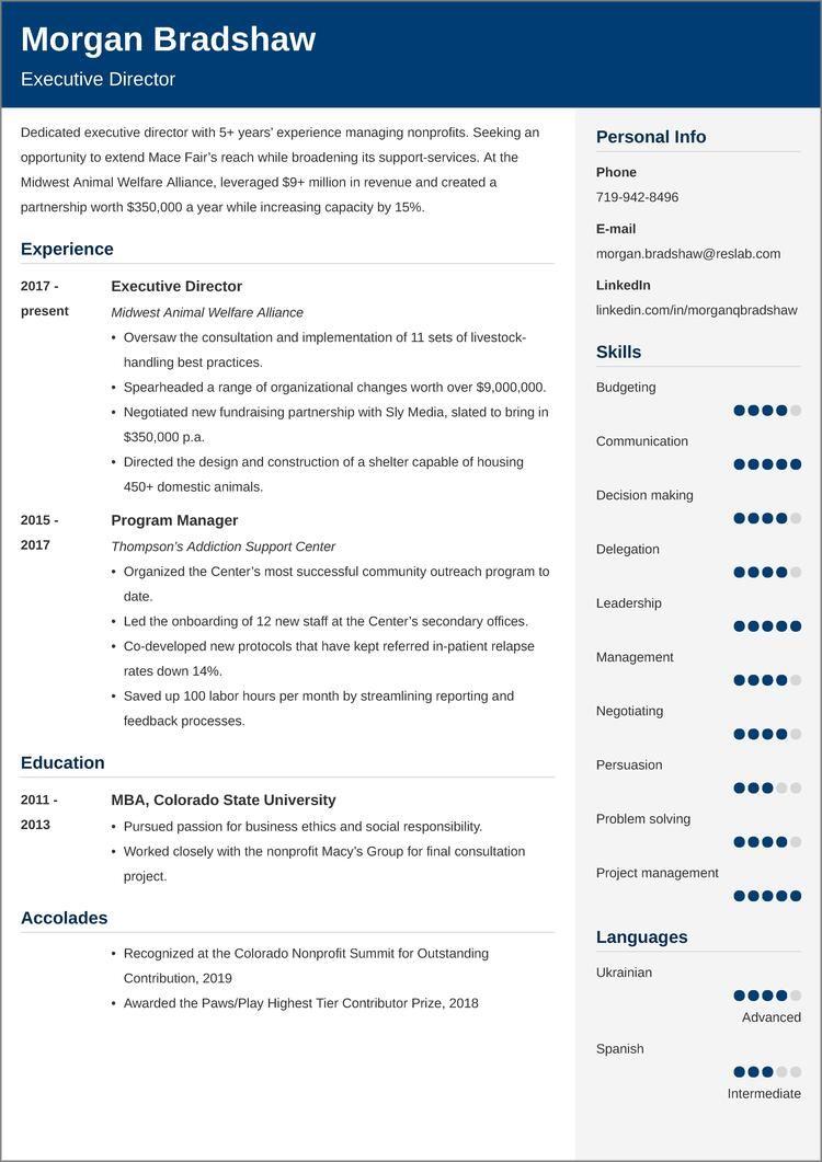 nonprofit resume templates