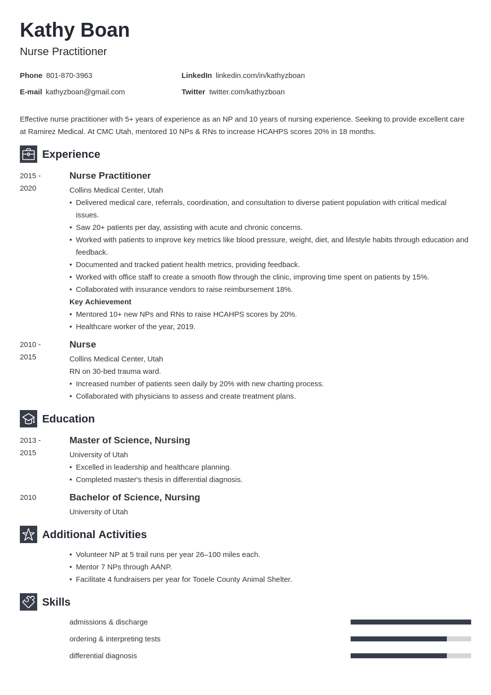nurse practitioner template newcast