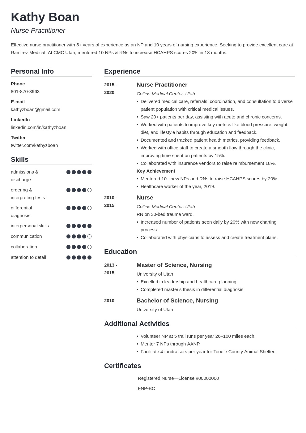 nurse practitioner template simple
